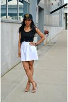 white thrifted Zara skirt - black Forever 21 t-shirt