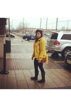 mustard Wool jacket - beige vintage sweater - black Zara leggings