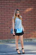 black ankle strap Lulus shoes - black Chanel bag - black pleated H&M shorts