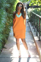 turquoise blue Forever 21 necklace - carrot orange cotton Zara dress