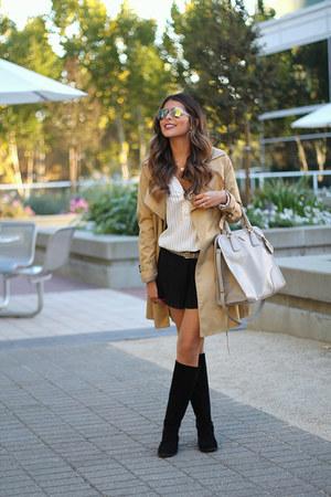 trench coat H&M coat - tall boots Nine West boots - gray Prada bag
