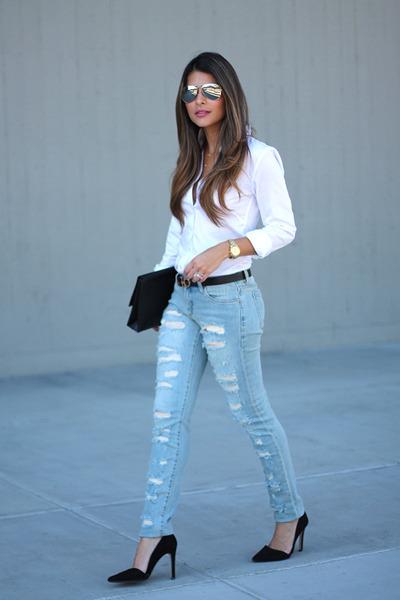 black black H&M bag - light blue ripped BLANKNYC jeans