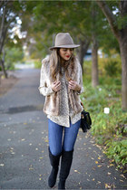 light brown faux fur Forever 21 vest - black Ivanka Trump boots