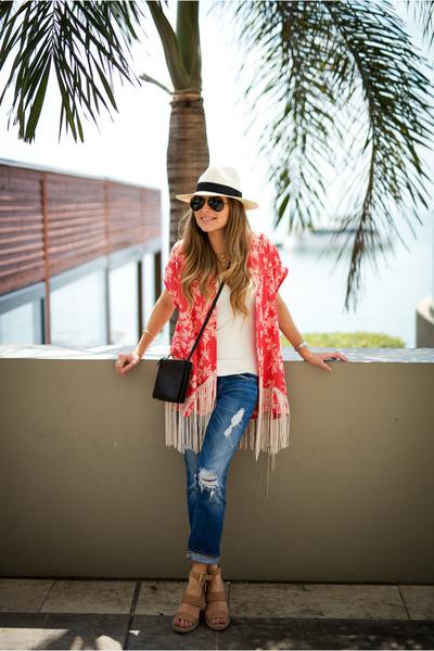 cream panama hat Jcrew hat - coral kimono Mango jacket