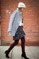 ivory tweed Chanel bag - heather gray gray Sheinside coat