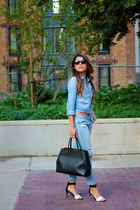blue ripped abercrombie and fitch jeans - black Fendi bag