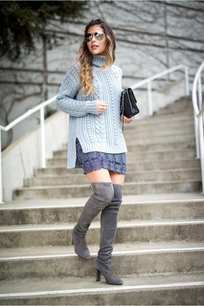charcoal gray stuart weitzman boots - light blue turtleneck ann taylor sweater