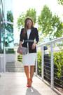 White-white-cache-dress-black-100-polyester-theory-blazer
