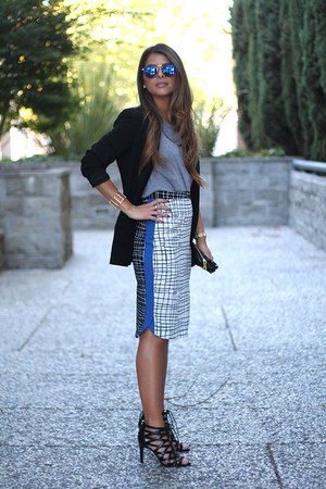 white checkered asos skirt - black lace up Nine West shoes