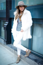 white faux fur Forever 21 jacket