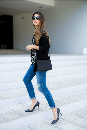 black sheer maison scotch top - blue ripped asos jeans