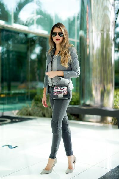 chanel boy bag Chanel bag - heather gray moto jeans Zara jeans