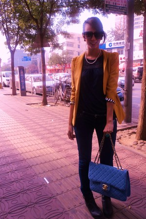 black H&amp;M boots - Yang Yang blazer - tezenis shirt - Chanel bag