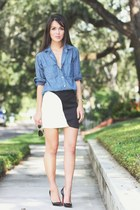 black black and white Urban Outfitters skirt - blue chambray madewell shirt