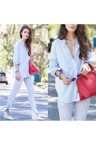 light blue Forever 21 shirt - silver Joes Jeans jeans - red Louis Vuitton bag