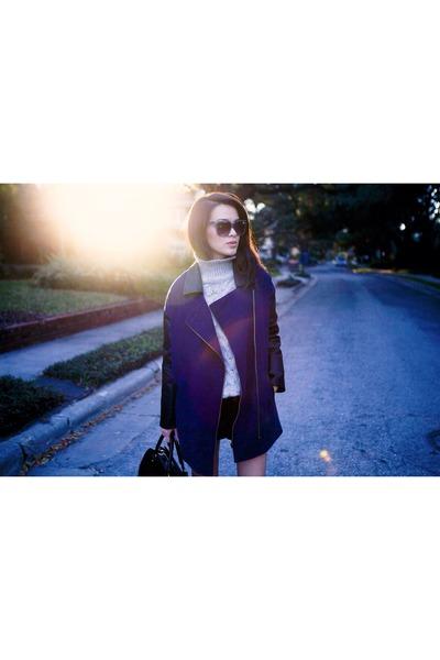 blue coat - silver Zara sweater