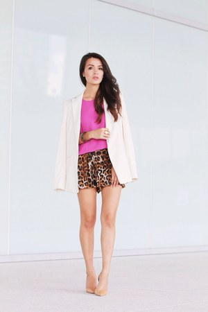 white ann taylor blazer - brown Express shorts - bubble gum J Crew blouse
