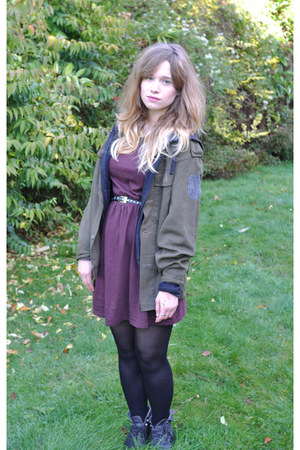 black old Topshop boots - Topshop dress - vintage from Ebay jacket