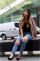 light pink satin bomber LF stores jacket - light blue ripped jeans CarMar jeans