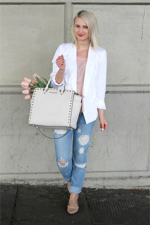 white studded Michael Kors bag - relaxed denim Zara jeans