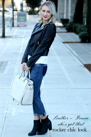 Michael Kors bag - leather Lucky Brand boots - patched H&M jeans