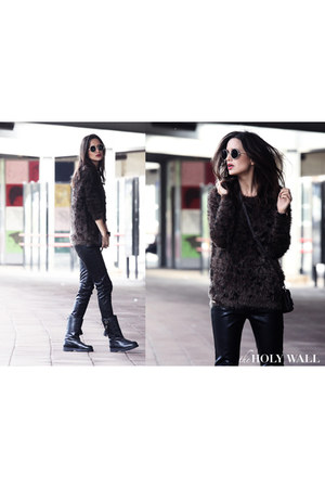 leather cha boots boots - Bershka sweater - leather prc collection pants