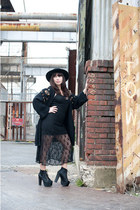 black Jeffrey Campbell shoes - black Urban Outfitters dress - black vintage hat