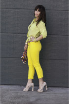 yellow Gap pants - red 80s Vintage purse - ivory sam edelman heels