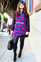 black coach bag - hot pink Forever 21 dress - black Prada sunglasses