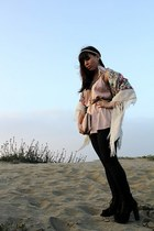 light pink Urban Outfitters top - ivory thrift scarf - black Jeffrey Campbell sh