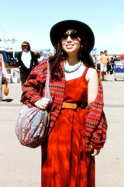 red Street Vendor dress - black vintage hat