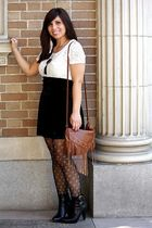 white f21 top - black f21 skirt - Urban Outfittersrban tights - brown H&M bag -
