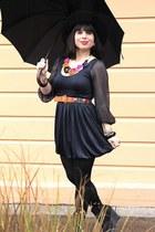 black Urban Outfitters shoes - navy Alice & Olivia dress - black Gap socks - tan
