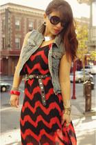 Crossroads Trading Co dress - Prada sunglasses - vintage belt - Forever 21 vest