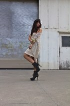 charcoal gray Sam Edelam shoes - ivory Urban Outfitters dress - off white Wastel