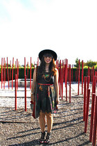 black H&M dress - black vintage hat - red DIY bag - red JCrew belt