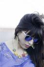Blue-luluscom-dress-blue-urban-outfitters-sunglasses-yellow-zara-heels