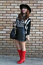 black Urban Outfitters sweater - red vintage boots - black coach bag