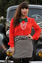 black vintage belt - red JCrew blouse - black Urban Outfitters skirt