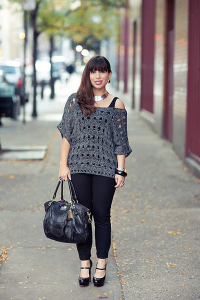 charcoal gray evil twin sweater - black Vince Camuto shoes - black coach bag
