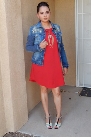 blue Forever 21 jacket - red Agaci dress - light blue Shoedazzle heels