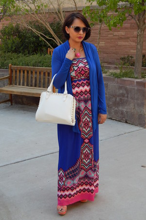 blue Charlotte Russe dress - white Forever 21 bag - blue Agaci cardigan