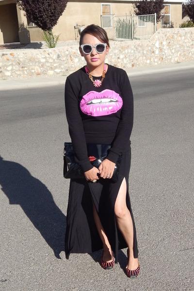 black Charlotte Russe sweater - black Forever21 skirt - black gianni bini flats
