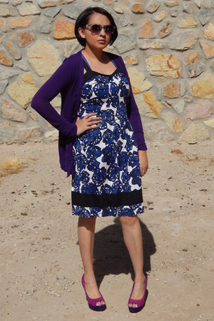 purple Wet Seal cardigan - navy Richard Chai for Target dress