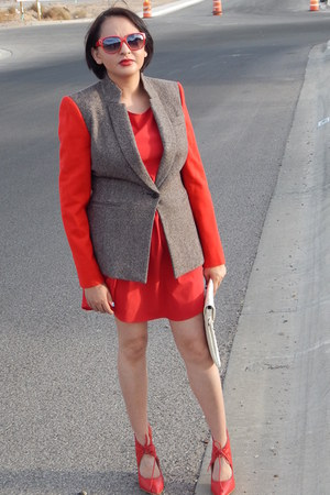 red Agaci dress - tan gianni bini blazer - red Shoedazzle heels