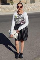 heather gray Target sweatshirt - black Target skirt - black Walmart sneakers