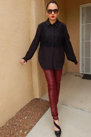 maroon Ebay leggings - black Prabal Gurung blouse