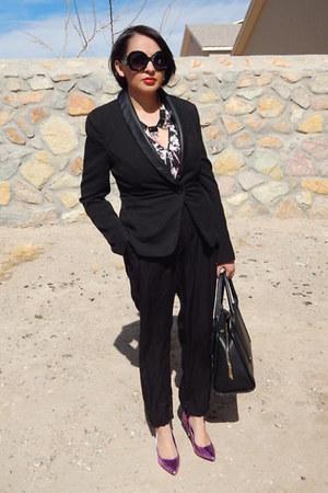 black Forever 21 blazer - black Charlotte Russe pants - hot pink JCPenney heels