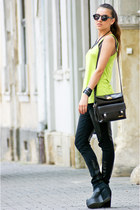 thrifted bag - Zara leggings - H&M sunglasses - Topshop top - H&M wedges