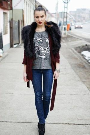 H&M coat - Jeffrey Campbell boots - Diesel jeans - Zara blouse